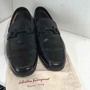 Black leather Ferragamo loafers